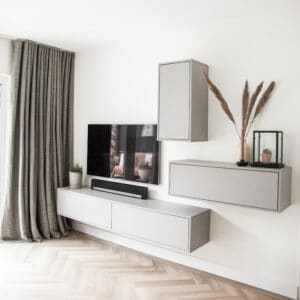 Interieurontwerp jaren vijftig woning maatwerk tv meubel